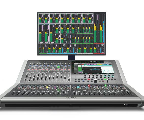 Calrec Brio digital mixing console with meters
